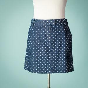 J Crew 0 Denim Polka Dot Mini Pencil Skirt NWT